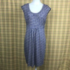 Boden Blue Tan Scoop Neck Sheath Dress 8R